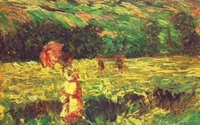 Wallpaper landscape, picture, Claude Monet, The Promenade near Limetz