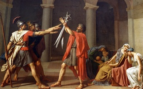 Wallpaper picture, swords, rome, Rome, painting, men, Neoclassicism, brothers, mother, wife, oath, swords, oath Horatii, Jacques-Louis ...