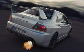 Picture Skid, Exhaust, Mitsubishi, Lancer, Car, Fire, Evolution 8