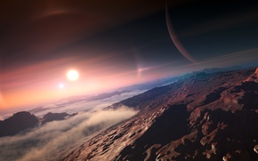 Picture the sun, clouds, mountains, Exoplanet
