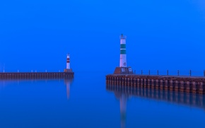 Picture sea, the sky, lighthouse, Bay, the evening