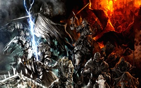 Wallpaper orcs, fire, army, mountains, Lord of the rings