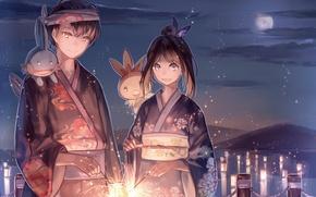 Wallpaper the sky, girl, clouds, night, smile, animals, the moon, anime, art, guy, kimono, sparklers, Pokemon, ...