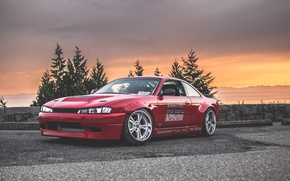 Picture nissan, red, silvia, s14