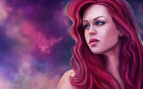 Picture look, face, art, Ariel, the little mermaid, red hair, Ariel