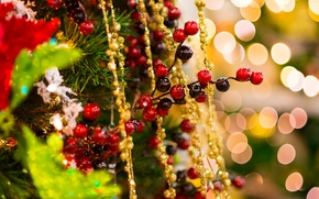 Picture New Year, holiday, tinsel, winter, tree, toys, gold, Holly, New Year, Christmas, branch, spruce, beads, …