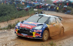Wallpaper DS3, Citroen, The front, Rain, People, Rally, Overcast, Race, Rally, Machine, Auto, Dirty, Dirt, The ...