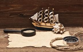 Picture model, rope, magnifier, compass, the manuscript