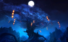 Picture night, lights, tree, rocks, the moon, art, lanterns, zyxlx