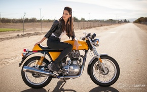 Picture road, Girls, hairstyle, girl Raquel, posing on a motorcycle Royal Enfield Continental GT