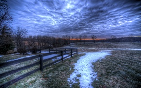 Picture the sky, snow, trees, landscape, nature, the fence