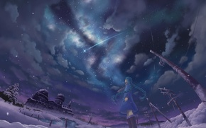 Wallpaper posts, wire, hatsune miku, art, winter, anime, inoki, girl, night, stars, the sky, tears, vocaloid, ...
