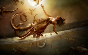 Picture the moon, water, girl, flight, art, Diversity, fantasy