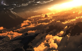 Picture clouds, light, mountains, digital, Heliocentric
