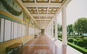 Picture garden, columns, hall