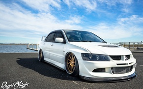 Picture turbo, white, wheels, mitsubishi, japan, jdm, tuning, lancer, evolution, evo, front, face, low, stance, dapper