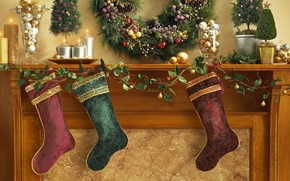 Picture decoration, holiday, balls, Christmas, candles, socks, fireplace
