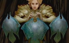 Picture girl, fantasy, art, shield, Allen Williams