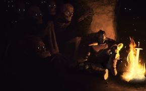 Picture darkness, fire, sword, warrior, art, skeletons, undead, armor, Dark Souls