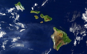 Picture clouds, Hawaii, satellite view
