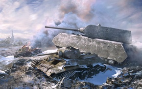 Picture winter, war, T-34, germany, tank, maus
