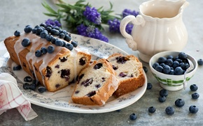 Picture flowers, berries, blueberries, dishes, dessert, cakes, glaze, cupcake