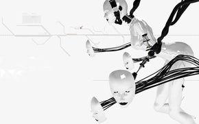 Wallpaper white, wire, Robot, face