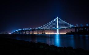 Wallpaper City, Bridge, Skyline, San Francisco, Island, Bay, Architecture, Ligth, Nigth, Treasure
