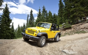 Picture road, yellow, jeep, serpentine, Jeep Wrangler 2011