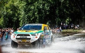 Picture Squirt, Water, Machine, Mitsubishi, 2014, Stage, Race, The front, Day, Rally, Sport, Dakar, SUV, Rally