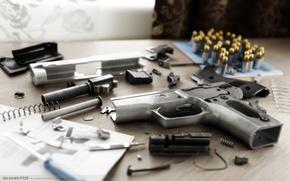 Picture rendering, gun, weapons, details, Alex Iartsev, SIG SAUER P228