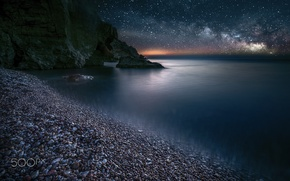 Picture sea, beach, the sky, stars, night, stones, rocks