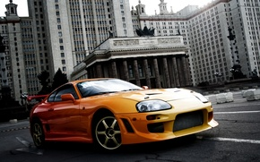 Picture orange, background, tuning, the building, sports car, Toyota, MSU, tuning, Supra, Toyota, Supra, ancestor