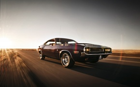 Picture road, the sky, lights, speed, wheel, Dodge, Challenger