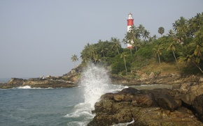 Picture sea, wave, nature, travel, palm trees, rocks, lighthouse, India