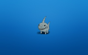 Wallpaper smile, minimalism, shark, blue background, shark, toothy, plavikovaya view