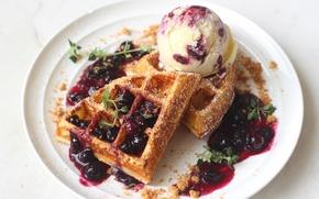 Picture ice cream, dessert, waffles, jam