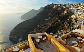 Picture sea, the city, Greece, roof, Santorini