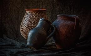 Picture fabric, pitcher, still life, ceramics