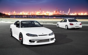 Picture nissan, turbo, white, wheels, subaru, japan, Nissan, wrx, impreza, jdm, tuning, silvia, front, Subaru, sti, …