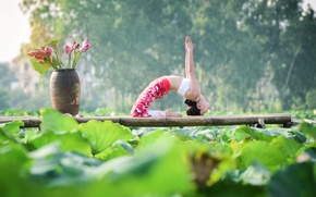 Wallpaper girl, nature, pose, gymnastics, yoga, Asian