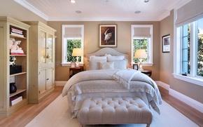 Picture room, Windows, bed, wardrobe, mansion, Design, bedroom, Interior, Bedroom