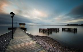 Wallpaper sea, the sky, water, clouds, surface, shore, coast, the evening, lights, pierce, calm, Sweden