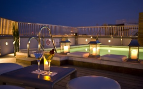 Picture wine, romance, the evening, candles, pool