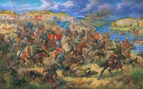 """Picture oil, picture, canvas, """"Prince Daniel ostrogski in the battle of Blue Waters, 1362"""", artist A. ..."""