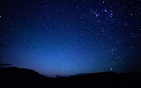Picture the sky, stars, mountains, night, trail, meteor