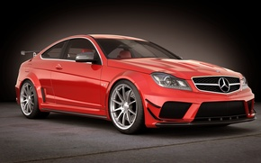 Picture art, mercedes, car, black, amg, c63, Coupe, dangeruss, C-class