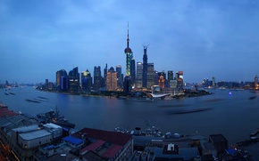 Picture China, city lights, Asia, megapolis, Shanghai, Shanghai
