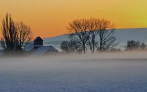 Picture winter, landscape, house, Germany, winter, Saxony