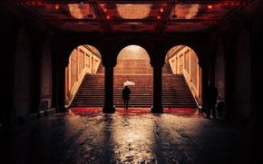 Picture United States, umbrella, New York, man, Central Park, raining, Bethesda Terrace Arcade
